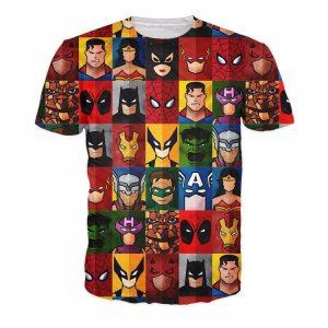 DC Superheroes Profile Pictures Cartoon Design Sketch Vibrant Color T-Shirt - Superheroes Gears
