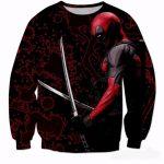 Deadpool Dual Katana Ready Fight Blood Pattern Dope Design Sweatshirt - Superheroes Gears