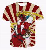 Deadpool Marvel Sailor Moon Theme Funny Design Theme T-Shirt - Superheroes Gears