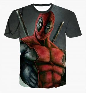 Deadpool Marvel Universe Anti-Hero Muscular Dual Swords Design T-Shirt - Superheroes Gears