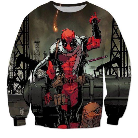 Deadpool Villain Execution Burning Fire Comic Drawing Style Cool Sweatshirt - Superheroes Gears