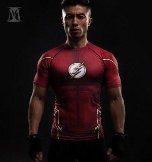 Flash DC The Superhero Athletic Compression Short Sleeves Slim Fit T-shirt - Superheroes Gears