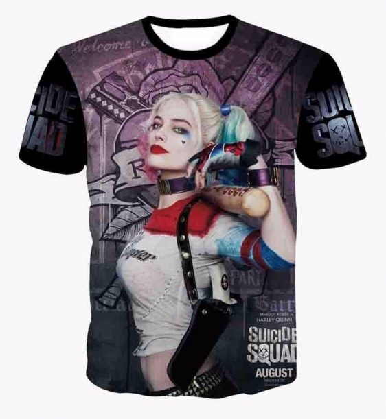 Harley Quinn Suicide Squad Posture Baseball Bat Dope Style T-Shirt - Woof Apparel