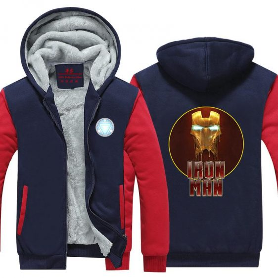 Iron Man Avengers Gold Mask Red Symbol Nice Hooded Jacket - Superheroes Gears