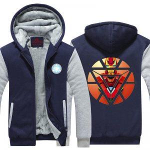 Iron Man Avengers Red Art Arc Reactor Symbol Hooded Jacket - Superheroes Gears