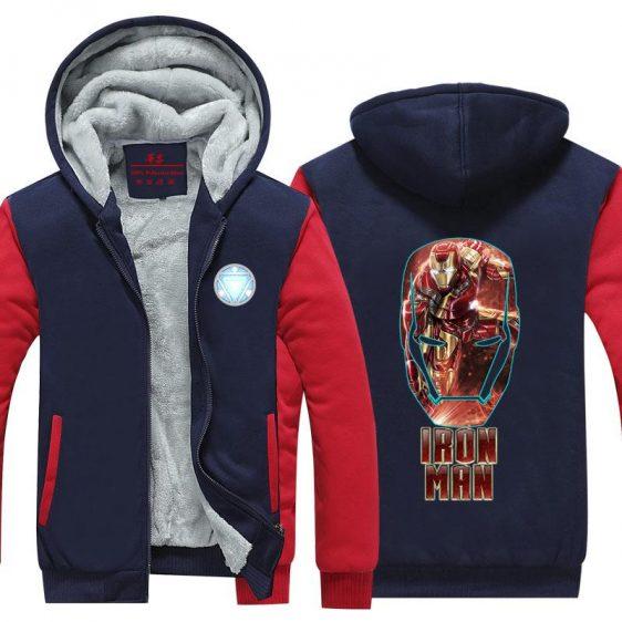 Iron Man Big Red Gold Mask Logo Avengers Hooded Jacket - Superheroes Gears