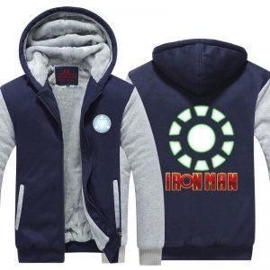 Iron Man Green Arc Reactor & Letter Symbol Hooded Jacket - Superheroes Gears