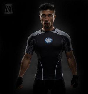 Ironman Mark II Armor Design 3D Printed Compression Short Sleeve - Superheroes Gears