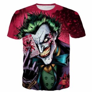 Joker DC Villain Scary Smile Bloody Card Color Style T-Shirt - Woof Apparel