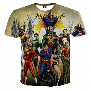Justice League DC Superheroes Characters Full Print T-Shirt - Superheroes Gears