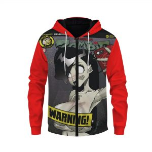 Danger Doll Squad Selfie Personalized Comic Red Zip Up Hoodie