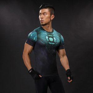 DC Green Lantern Symbol Inspired Compression Short Sleeves Slim Fit T-shirt - Superheroes Gears
