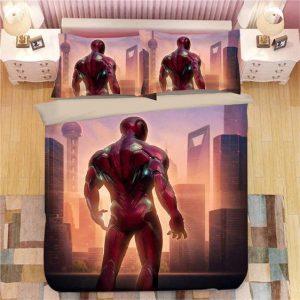 Marvel Hero Iron Man Back View in Modern City Bedding Set