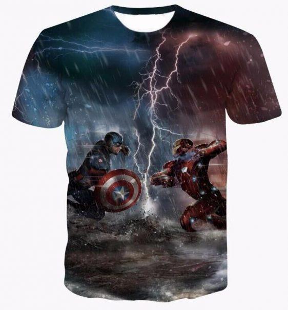 Marvel Civil War Captain America Iron Man Thunder Hero T-Shirt