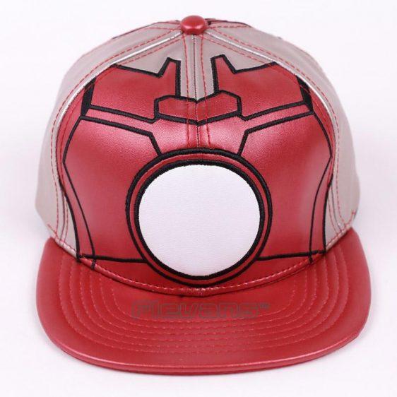 Marvel Iron Man Red Leather Streetwear Snapback Baseball Cap