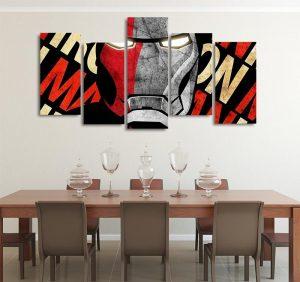 Marvel Red & Gray Iron Man Design 5pcs Wall Art Canvas Print