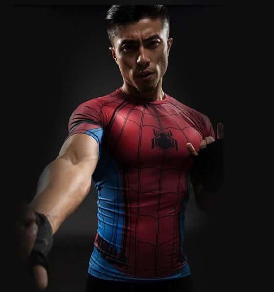 Marvel Spider-man Inspired Short Sleeves Workout Compression T-shirt