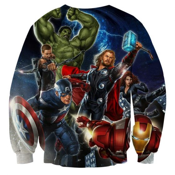 Marvel The Avengers Main Characters Flying Swag Sweatshirt