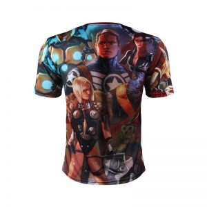 Marvel The Avengers Team Members 3D Full Printed Workout T-shirt - Superheroes Gears