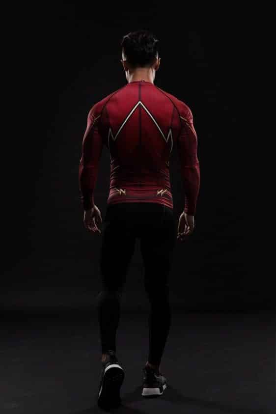 Red DC The Flash 3D Printed Compression Long Sleeves Athletic T-shirt