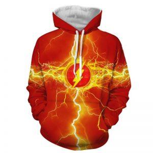 Stunning The Flash Yellow Lightning Logo Red Cosplay Hoodie