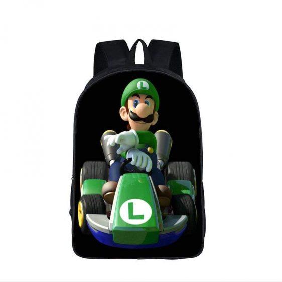 Super Mario Kart Racing Luigi Driving Black Backpack Bag