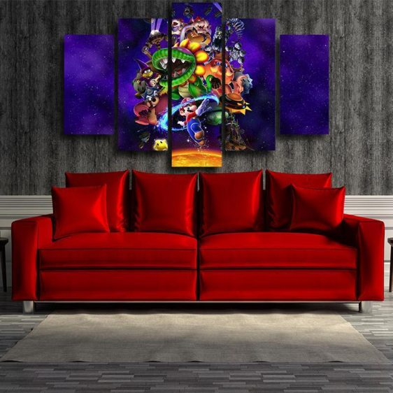 Super Mario Skyship Villain 5pc Wall Art Posters Canvas Prints