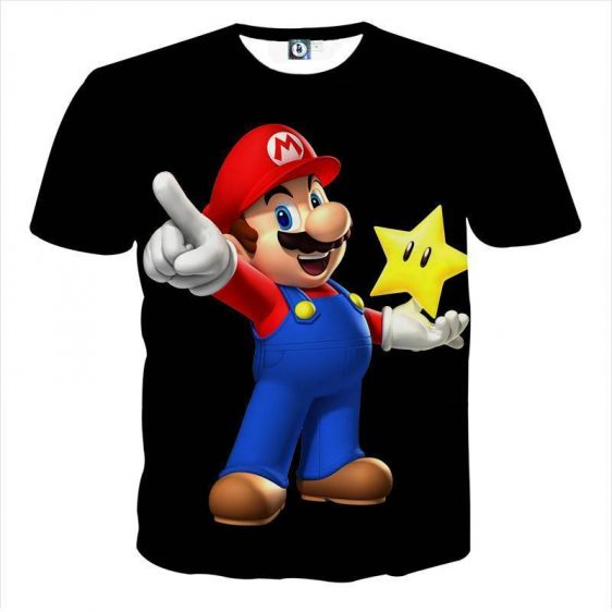 Super Mario Super Star Invisible Mode Design T-Shirt