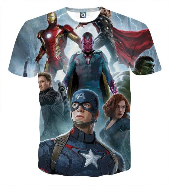 The Avengers Age of Ultron Main Characters 3D Print T-Shirt