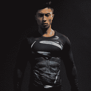 Black Superman Cool 3D Printed Compression Long Sleeves Gym T-shirt - Superheroes Gears