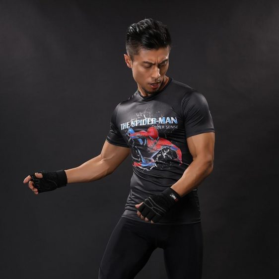 Vigored Spiderman Featuring 3D Printed Compression Short Sleeves T-shirt
