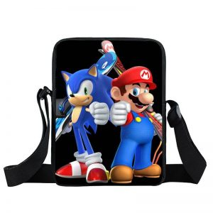 Super Mario Sonic The Hedgehog Cool Black Cross Body Bag