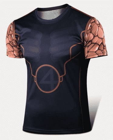 Fantastic Four Monstrous Thing Super Strength Hero Classic Workout T-shirt